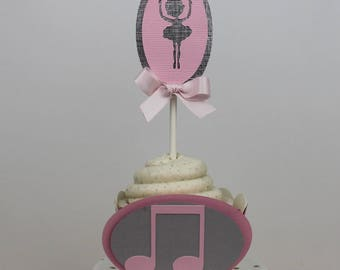 Ballerina Silhouette Cupcake Topper- Set of 12