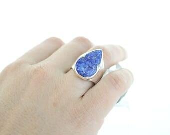 Lapis Lazuli Silver Ring. Size 7.75. Natural stone. Gemstone ring. Cabochon Lapis Lazuli ring. Ring size P 1/2 UK. apsarasv Ring.