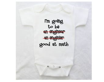 Baby Shower Gift for Boy or Girl | Funny Baby Bodysuit | Engineer Good At Math | White Bodysuit | Black Bodysuit