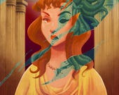 HAUNTED MANSION medusa changing portrait (limited edition art painting print), signed by Leann Hill