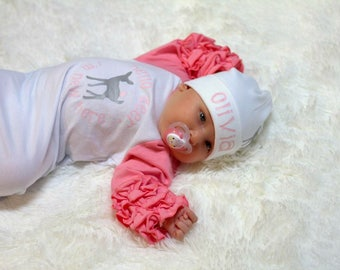 Newborn Gown Pink Baby Gown Deer Outfit Hospital Outfit Take Me Home Outfit Spring Coming Home Outfit Deer Hat
