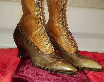 Amazing, antique, Victorian, late 1800's to early 1900's, brown and tan, leather, lace up boots!