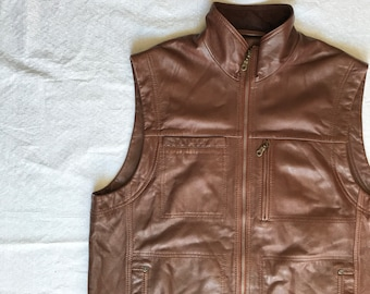 Vintage 1990s ORVIS Leather and Corduroy Hunting Vest men's waistcoat Fly Fishing Vest