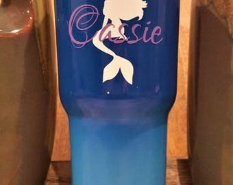Personalized Powder Coated Tumbler (Mug). Mermaid and Name Decal. Choose decal color, tumbler color & size. Perfect for gift giving.