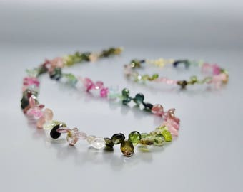 Set necklace and bracelet watermelon Tourmaline drops with 14K gold plated clasp - watermelon drops - gift idea for Christmas-genuine stone