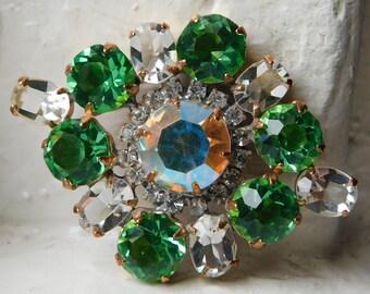 "Gorgeous Vintage Czech glass rhinestone button   Jewel decoration   Peridot   Clear   Aurora Borealis   1-3/4 x 1-5/16"""