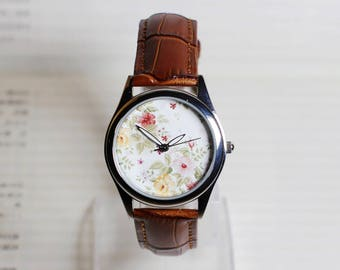 Vintage Floral watch,wrist watch, women Watch, Leather Watch, Floral Watch, Ladies Watch,Wrist Watch
