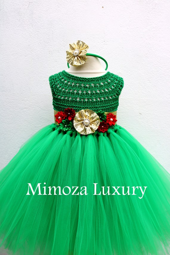 Christmas tutu dress, Christmas eve dress, Christmas green elf tutu dress, red green gold princess dress, emerald crochet top tulle dress