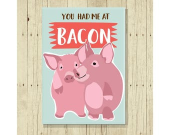 You Had Me At Bacon Magnet, Funny Magent, Refrigerator Magnet, Cute Fridge Magnet, Gift Under 10, Small Gift, Bacon Art,Pig Art, Bacon Lover