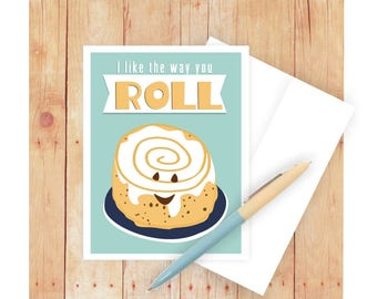 I Like the Way You Roll, Stationery Cards, Cinnamon Roll, Baking Art, Baking Gift, Baking Card Set, Pastry, Baker, Funny Stationery Set