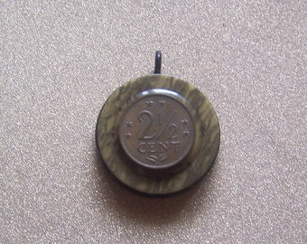 Repurposed up cycled vintage marbled celluloid button 2 1/2 cent coin pendant necklace jewelry