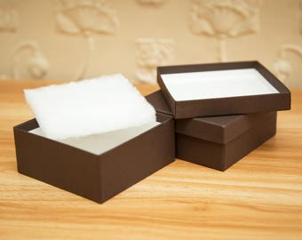 Square Chocolate Brown Kraft gift box. Wedding gift boxes. Deep kraft paper gift boxes. Custom gift boxes. 9cm x 9cm. Deep jewelry box
