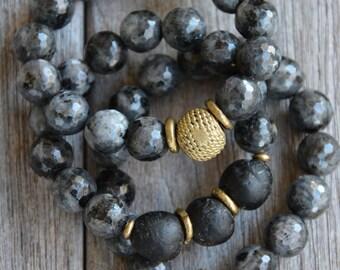 Black Speckled Bead Bracelets