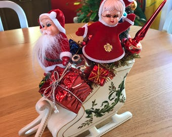 Vintage Sleigh Planter Arrangement for Christmas Shiny Brite Centerpiece with Santa and Mrs Claus