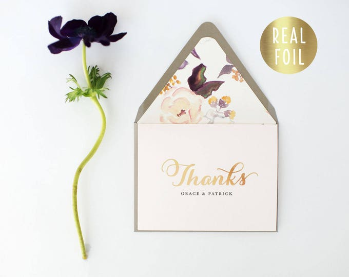 grace gold foil personalized  thank you cards +  lined envelopes (set of 10) // wedding thank you cards real gold foil pressed stamped card