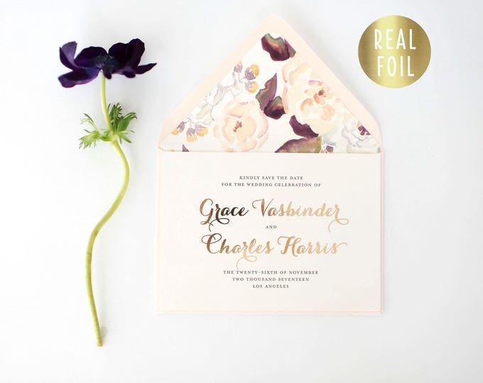 grace gold foil save the date invitations  (sets of 10)  //  gold foil blush watercolor floral calligraphy romantic custom modern invite