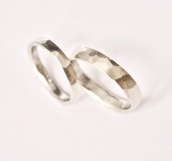 White Gold Wedding Band Set - Hammered Rings - 9 Carat Gold