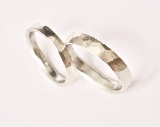 White Gold Wedding Band Set - Hammered Rings - 9 Carat Gold