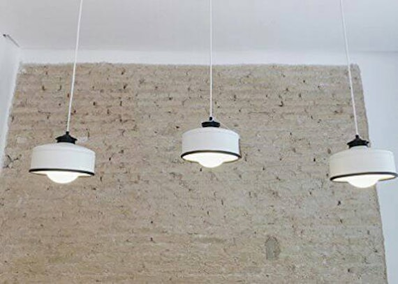 OFFER for 2 or more hanging lamps !  White & Black color. Eco friendly : recycled from coffee can. LED light bulb included,warm light