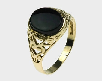 Black Onyx Ring, Mens Signet Ring, Mens Onyx Ring, Gold Rings Men, Signet Rings Men, Fathers Day, Mens Gold Rings, Gold Signet Rings, Onyx