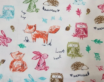Fox and Owl French Baby Terry Knit Fabric by Yard, Width 160cm (62 Inch)
