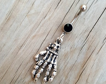 Skeleton Hand Belly Button Ring, Skull Navel Ring, Halloween Belly Button Jewelry, Navel Piercing, Body Jewelry, Gothic Punk,Curved Barbell.