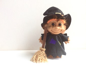 "vintage russ troll doll, 5"", witch, halloween, orange hair, broom, costume"