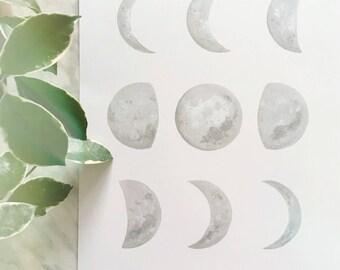 Grey Moon Phase Art, Moon Phase Print, Moon Phase Decor, Crescent Moon Art, Dreamy Moon, Boho Decor, Boho Moon, Moon Painting, Moon Art