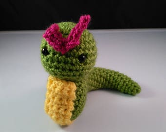 Caterblob Crochetmon, Crochet Green Worm, Caterblob green worm, grass green worm, handmade grass worm, crochetmon