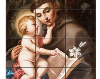Catholic saints serie - catholic tile mural - Saint Anthony of Padua with Child Jesus - mosaic - handmade in Italy - devotional - St Anthony