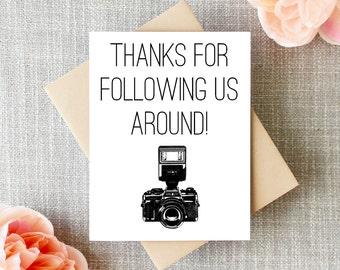 Wedding Photographer Thank You Card, Thanks Wedding photographer, Capturing our wedding, Photographer Card, Photographer, Cheeky, Funny