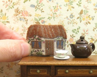 "Dollhouse teacosy kit, Cottage tea cosy kit, 1:12 miniature needlepoint teacozy,  Petit point doll's house teacosy 1/12 scale, 1.2""H, 32 ct"
