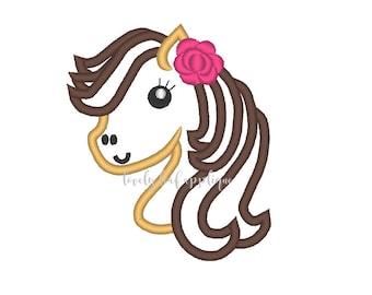 DIGITAL ITEM: Girl Horse Head Applique Design 4x4 and 5x7