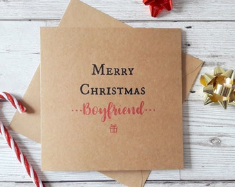 Boyfriend Christmas card, merry christmas, happy christmas, Xmas greetings cards, Kraft Christmas card, square festive typography card