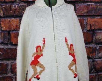 Vintage Figure Skaters Curling Sweater