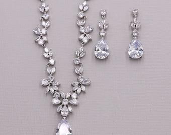 CZ Jewelry Set, CZ Wedding Necklace Set, bridal jewelry, wedding jewelry, zircon jewelry, cz jewelry set, jewelry set, Natalia Jewelry Set