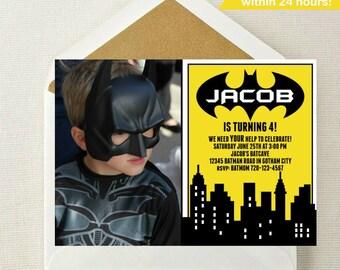 Batman Photo Invitation // Batman Birthday Invitation // Superhero Invitation // Batman Birthday Party // Batman Invite with Photo // Batman