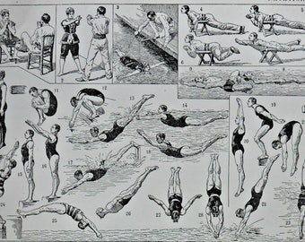 Swimming at the beginning of 20th. Old book plate, 1922. Antique  illustration. 95 years lithograph. 8'1 x 11'4 inches.