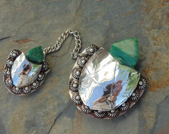 Vintage Mexico Silver Mother and Baby Turtle Sweater Pins with Green Stone Heads c. 1940's
