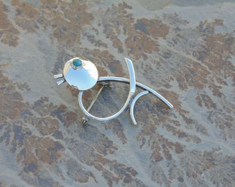 Maricela ~ Vintage Isidro Garcia Pina - Taxco Sterling Silver Bird with Blue Eye Pin / Brooch