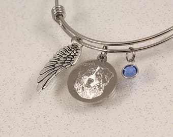 Engraved Pet Memorial Bracelet, custom portrait jewelry photo charm bracelet, remembrance gift, pet loss gift engraved pendant picture charm
