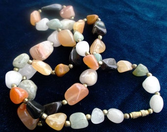 Vintage 90's jewelry necklace,Natural stone necklace ,colorful agate