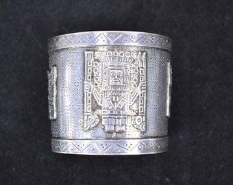 Vintage Sterling Silver Mayan Cuff Bracelet Mexico 75.9g