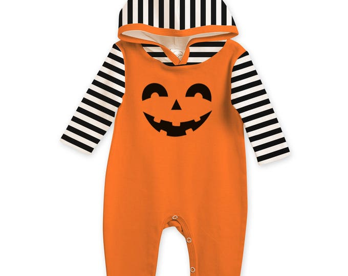 CLEARANCE!  Baby Halloween Romper Black and Orange Pumpkin, Baby Unisex Costume, Jack O' Lantern, Boo, Tesababe