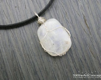 Shipping Included • Rainbow Moonstone sterling silver wire wrap pendant, June birthstone, cancer zodiac, good fortune gemstone, men jewelry