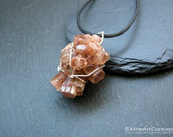 Aragonite cluster pendant, raw wiring specimen, orange long boho necklace, anti-stress gemstone, Capricorn stone, gift for her, men jewelry