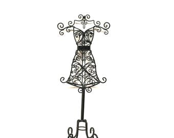 """JEWELRY DISPLAY STAND is a 17 1/2"""" tall Black Metal Curlicue 3D Dress Form Jewelry Display with Multiple Hanging Hooks"""