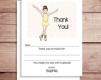Fill-in Thank You Notes - Ice Skater Flat Notes - Ice Skater Note Cards - Childrens Thank You Cards- Illustrated Note Cards