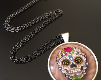 "Necklace  -  "" Sugar Skull "" image SSR6C6 under glass dome."