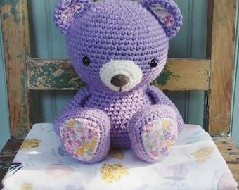 Lulu the Lavender Teddy Bear : Amigurumi Crochet Toy Bear, READY TO SHIP